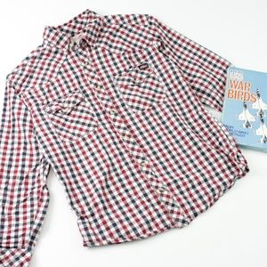Dickies Red White & Navy Checker Plaid Button Down